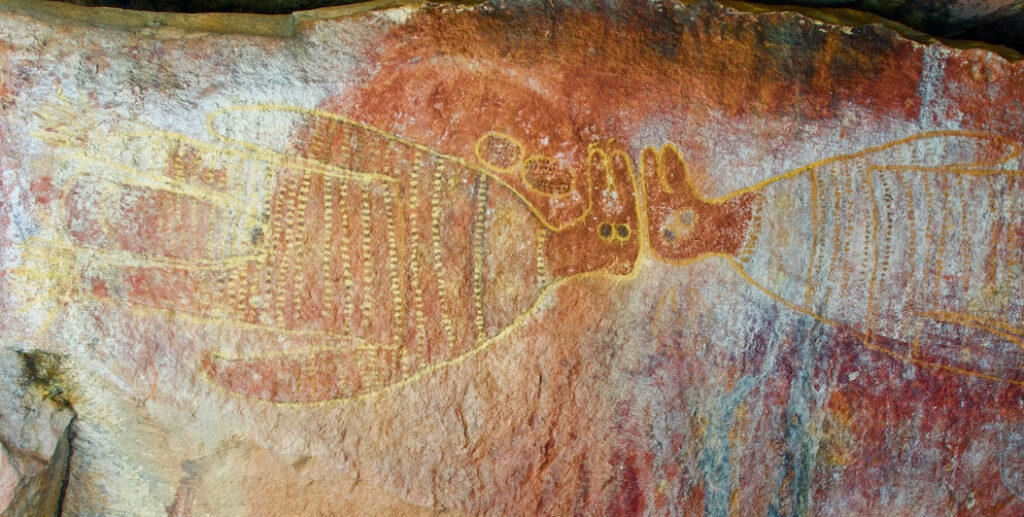 Two Brolgas go head-to-head in this ancient rock art.