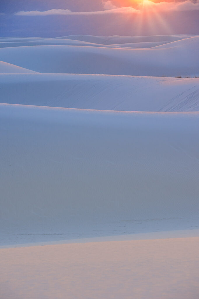 White Sands Nat'l Park - Late afternoon sun tints the gypsum sands in pastel colors.