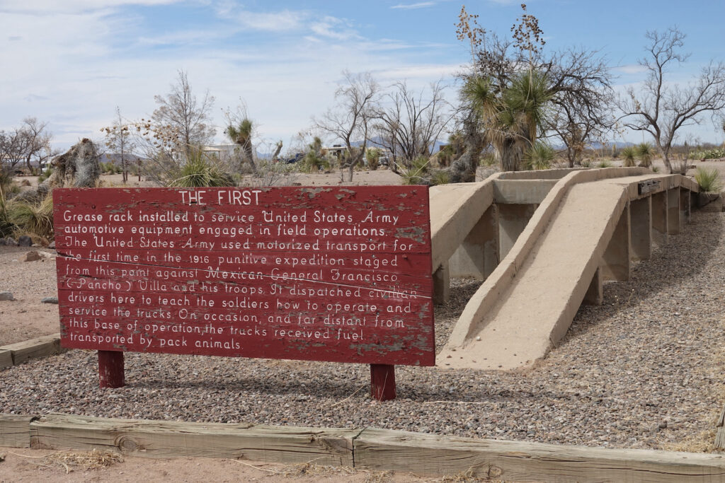 first grease rack - concrete. Pancho Villa State Park.
